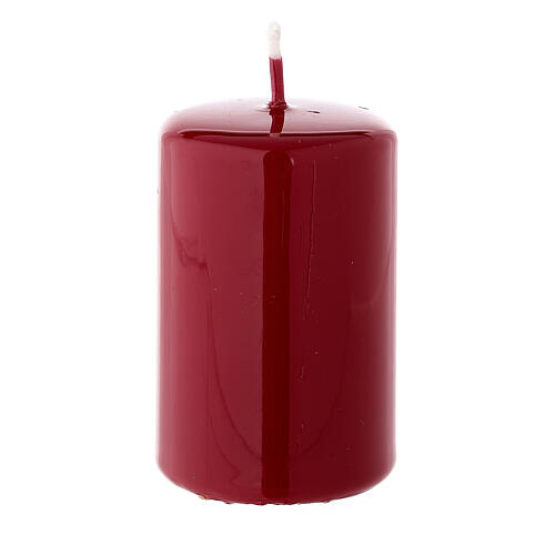 Christmas pillar candle in dark red 80x50 mm 2