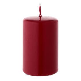 Matte dark red Christmas pillar candle 80x50 mm s1