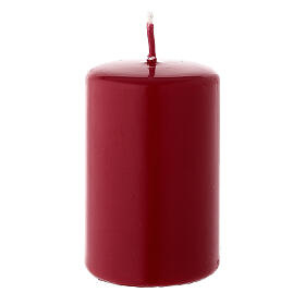 Christmas candle in matte dark red 80x50 mm s1