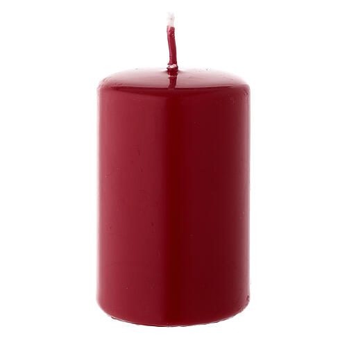 Christmas candle in matte dark red 80x50 mm 1
