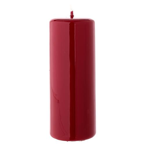 Shiny burgundy Christmas pillar candle 130x50 mm 1
