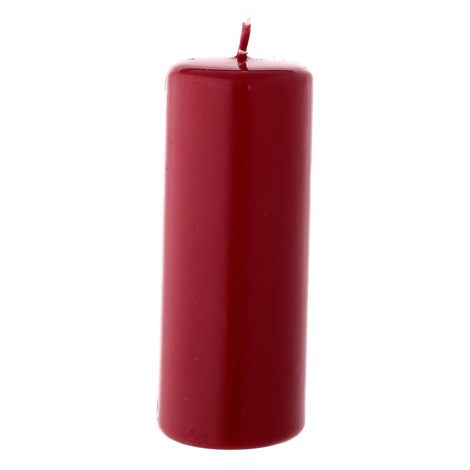 Candela di Natale cilindro 13x5 cm ceralacca rosso scuro 3