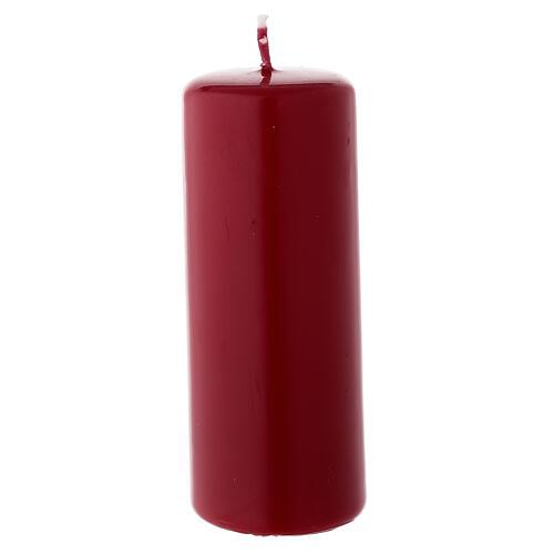 Candela di Natale cilindro 13x5 cm ceralacca rosso scuro 1