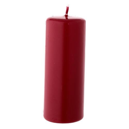 Candela di Natale cilindro 13x5 cm ceralacca rosso scuro 2