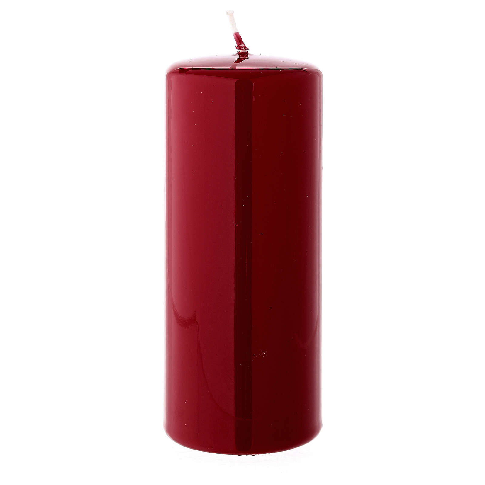 Shiny dark red Christmas pillar candle 150x60 mm 3