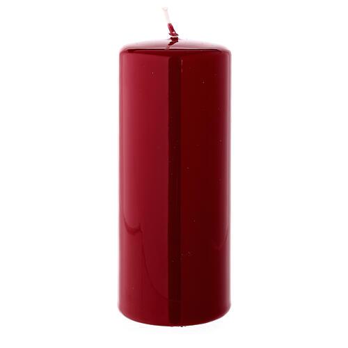 Shiny dark red Christmas pillar candle 150x60 mm 2