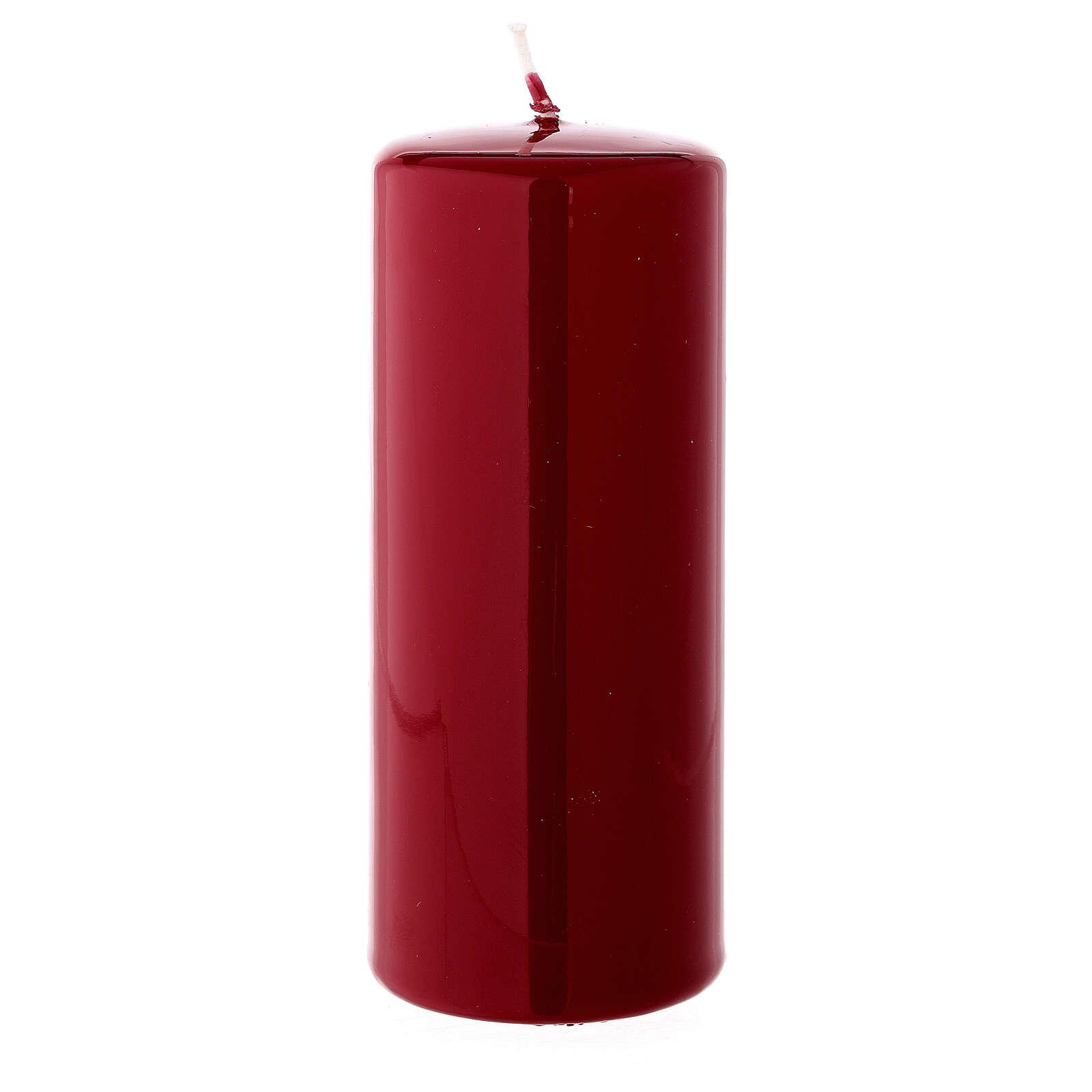Christmas pillar candle shiny dark red 150x60 mm 3