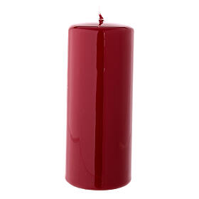 Christmas pillar candle shiny dark red 150x60 mm s1