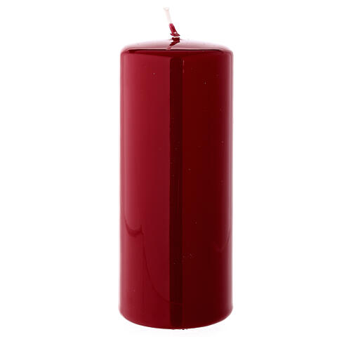 Christmas pillar candle shiny dark red 150x60 mm 2