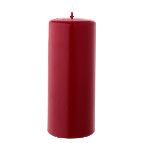 Matte dark red Christmas pillar candle 150x60 mm 1