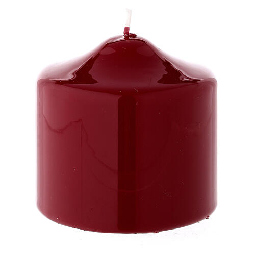 Shiny dark red Christmas candle 80x80 mm 1