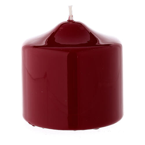 Shiny dark red Christmas candle 80x80 mm 2