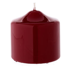 Christmas pillar candle, small shiny dark red 80x80 mm s2