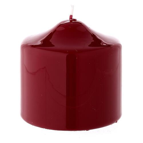 Christmas pillar candle, small shiny dark red 80x80 mm 1