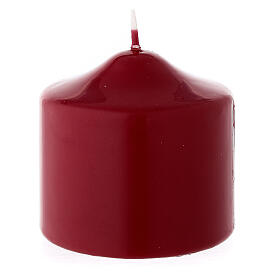 Matte dark red Christmas candle 80x80 mm s2