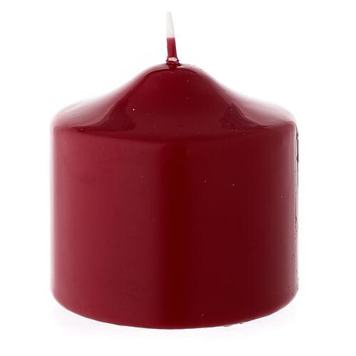 Vela Navidad de punta lacre opaco rojo oscuro 80x80 mm 2