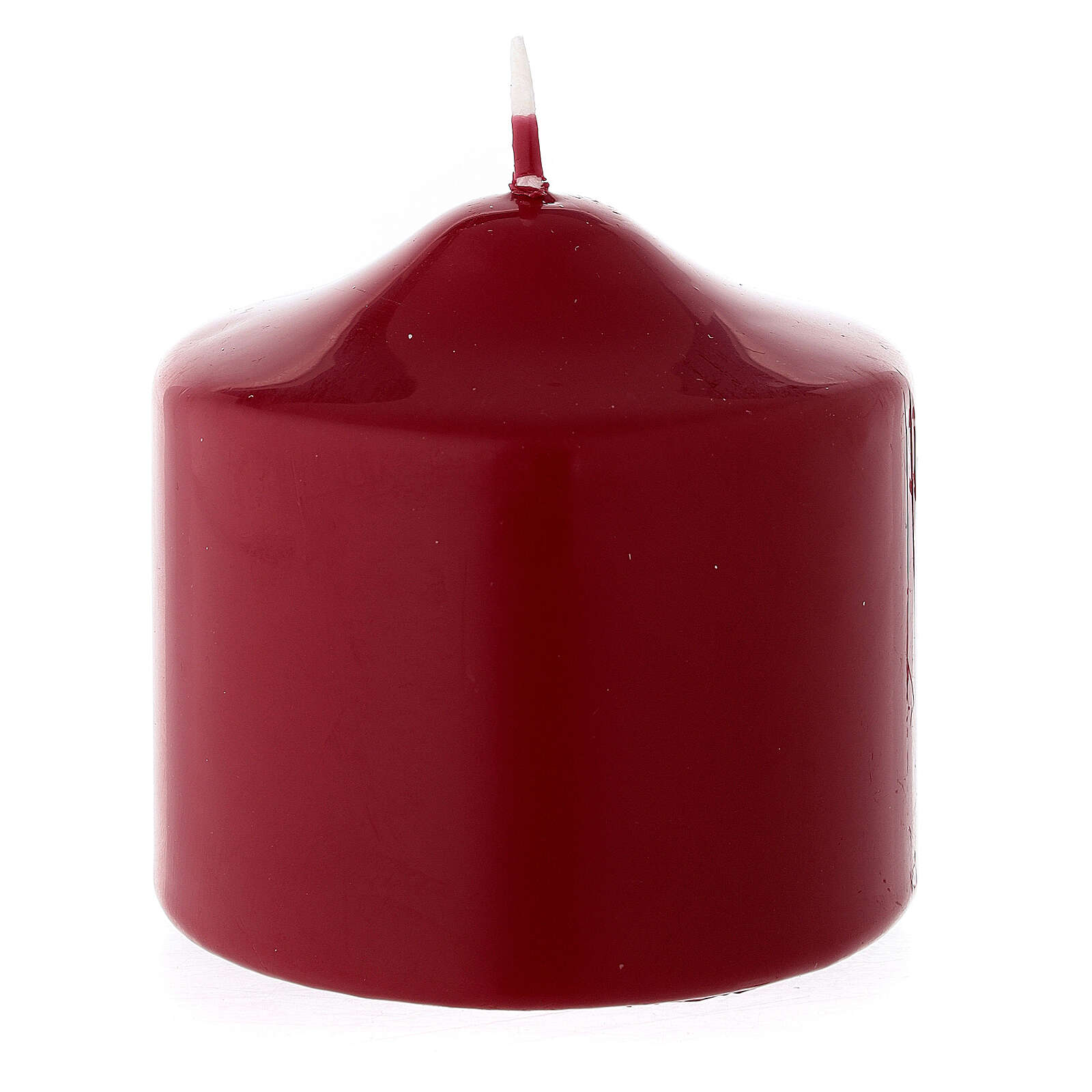 Christmas pillar candle, small matte dark red 80x80 mm 3