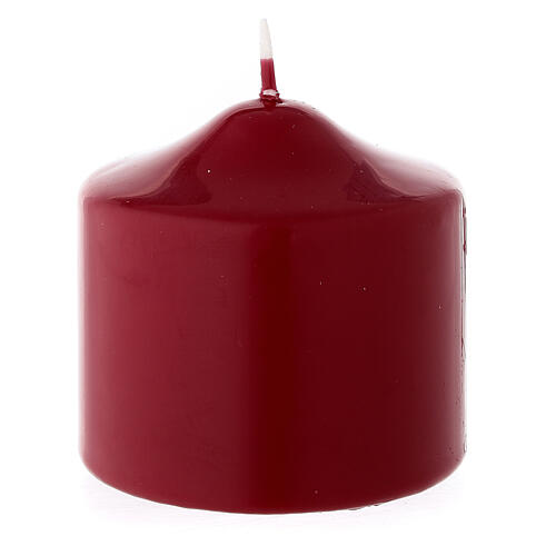 Christmas pillar candle, small matte dark red 80x80 mm 2