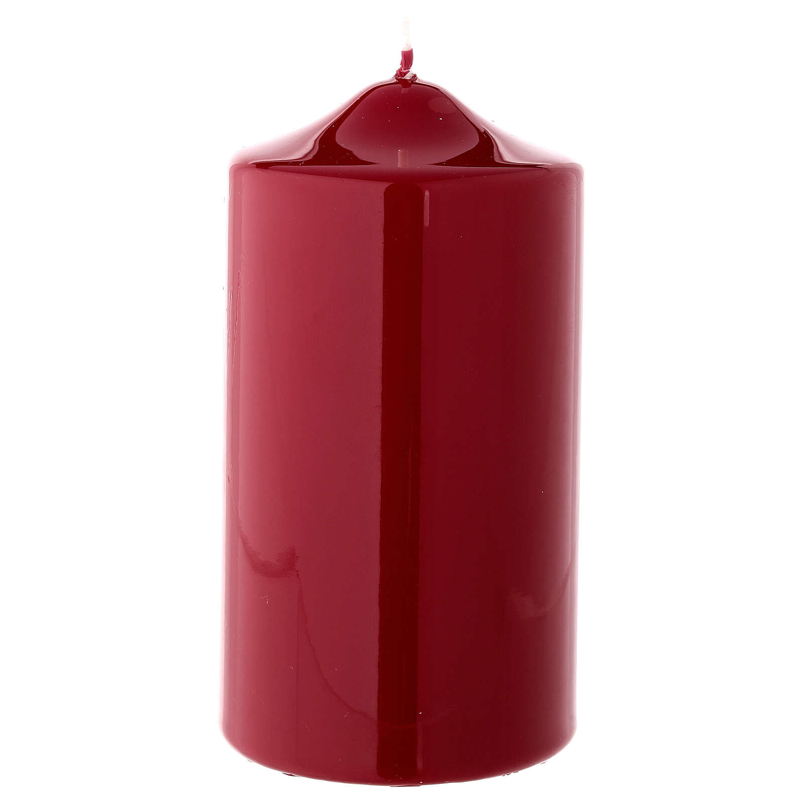 Shiny dark red Christmas candle 150x80 mm 3