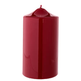 Shiny dark red Christmas candle 150x80 mm s1