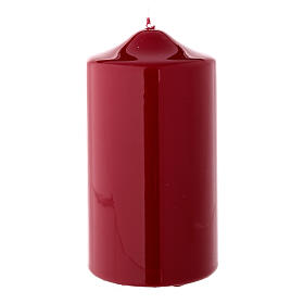 Shiny dark red Christmas candle 150x80 mm s2