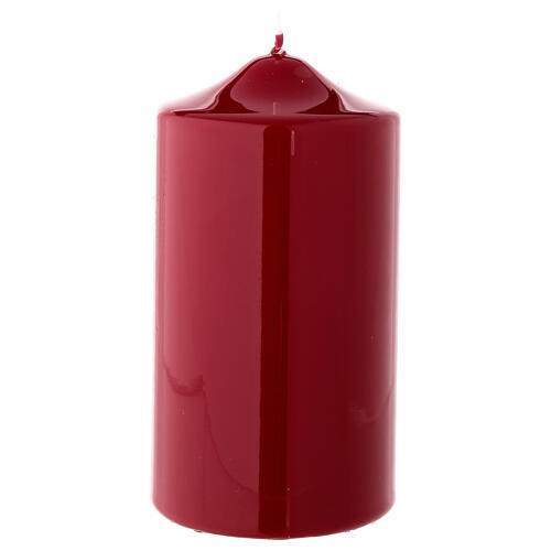 Shiny dark red Christmas candle 150x80 mm 1