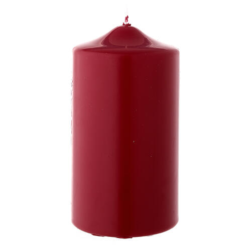 Christmas pillar candle, matte burgundy 150x80 mm 1