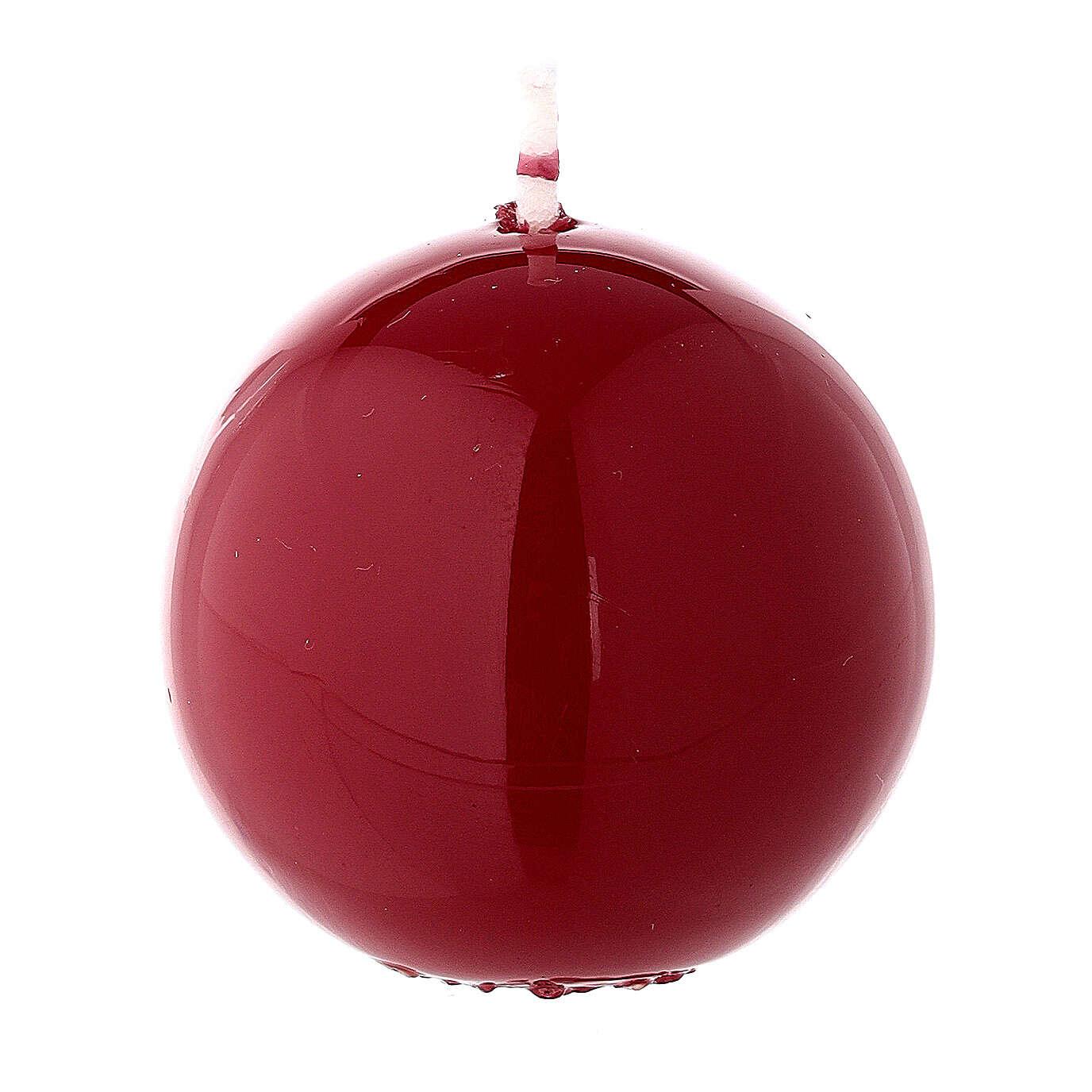 Sferetta candela natalizia ceralacca bordeaux 5 cm lucida 3