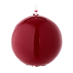 Sferetta candela natalizia ceralacca bordeaux 5 cm lucida s2
