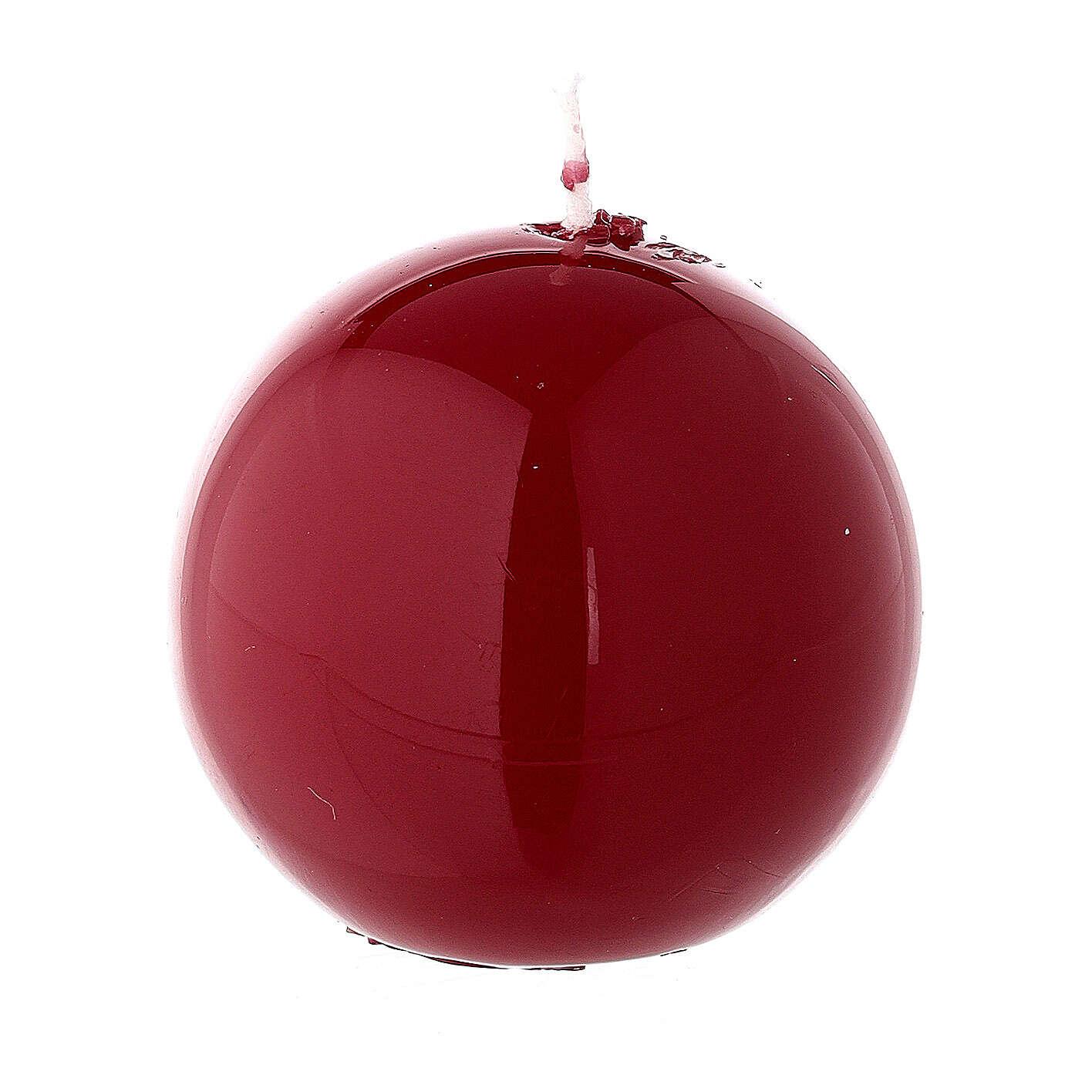 Round ball Christmas candle, burgundy 5 cm shiny 3