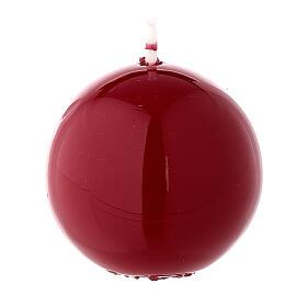 Round ball Christmas candle, burgundy 5 cm shiny s2