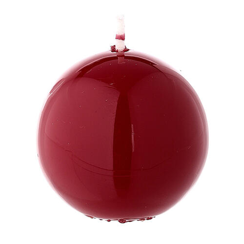 Round ball Christmas candle, burgundy 5 cm shiny 2