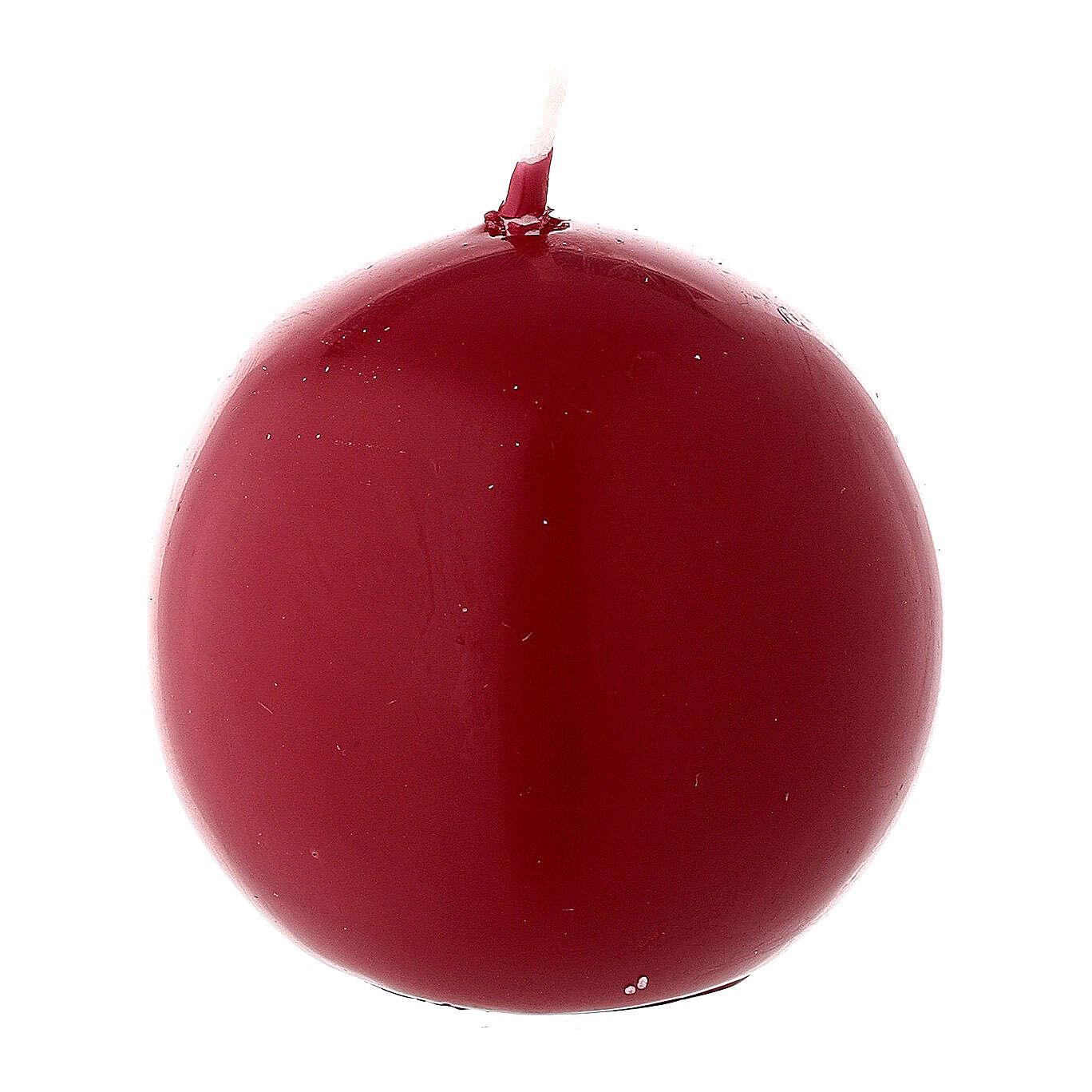 Candela natalizia sfera diametro 5 cm ceralacca rosso scuro 3