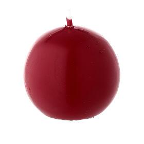 Candela natalizia sfera diametro 5 cm ceralacca rosso scuro s1