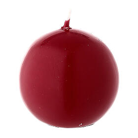 Candela natalizia sfera diametro 5 cm ceralacca rosso scuro s2