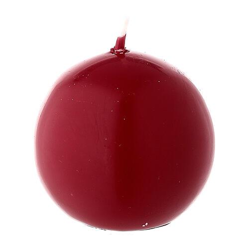Candela natalizia sfera diametro 5 cm ceralacca rosso scuro 2