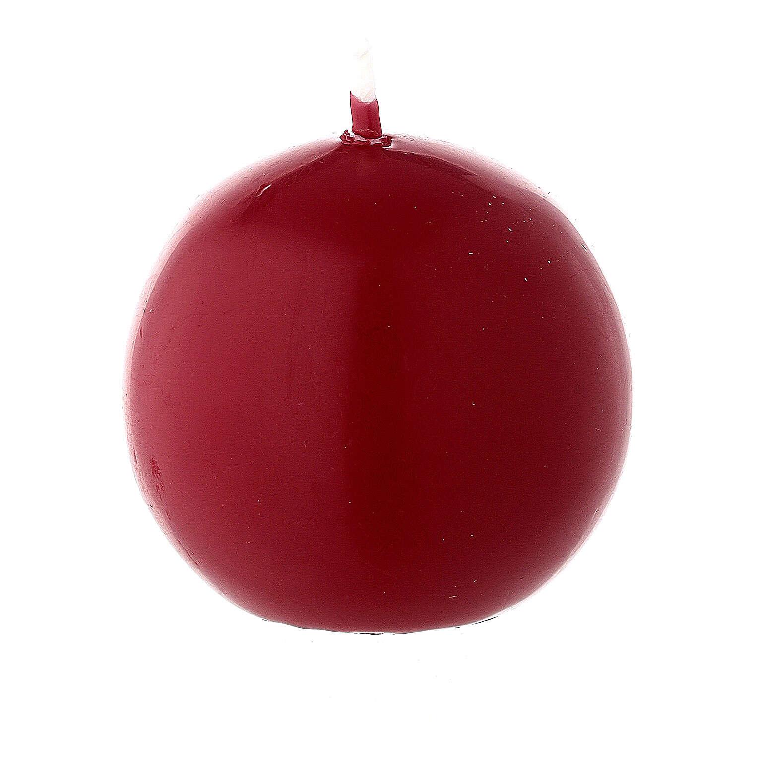 Round ball Christmas candle, dark red 5 cm diameter 3