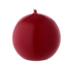 Round ball Christmas candle, dark red 5 cm diameter s1