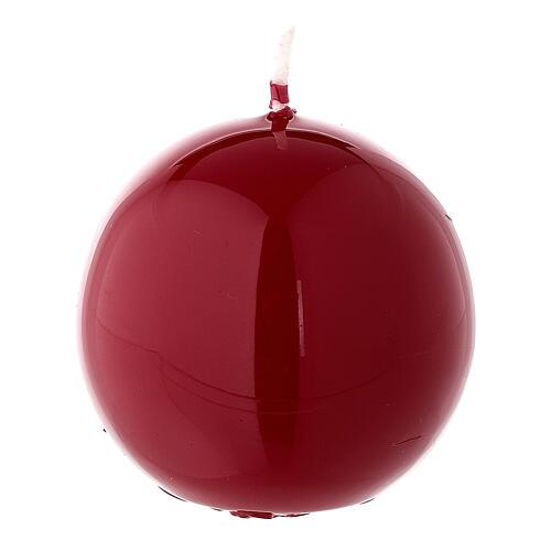 Vela de Navidad rojo lúcido esfera lacre 6 cm 1