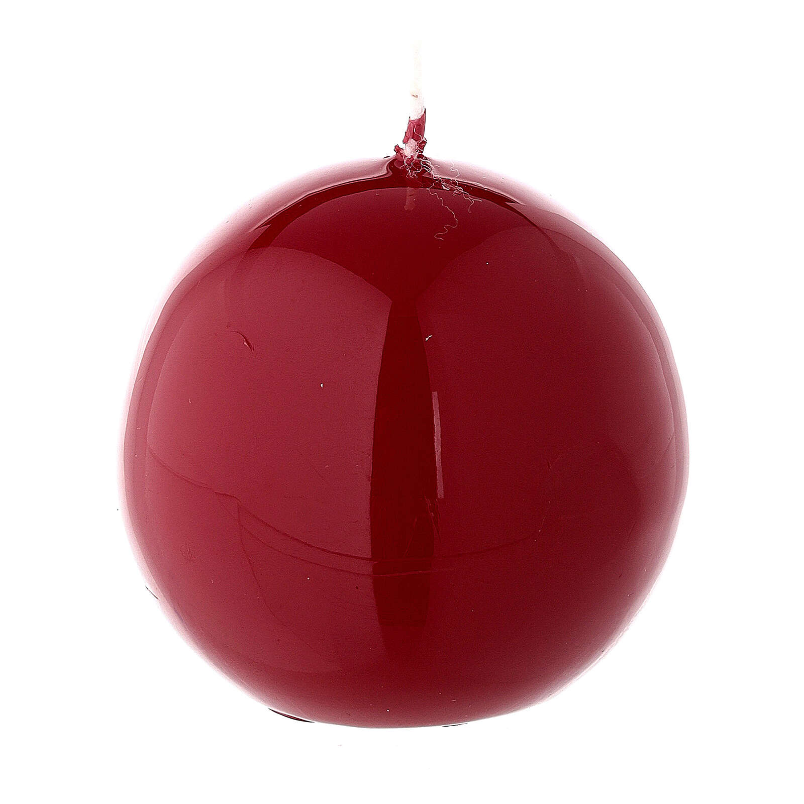 Round ball Christmas candle, red shiny 6 cm diameter 3