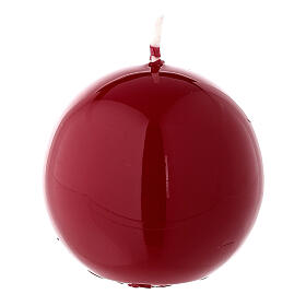 Round ball Christmas candle, red shiny 6 cm diameter s1