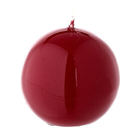 Round ball Christmas candle, red shiny 6 cm diameter s2