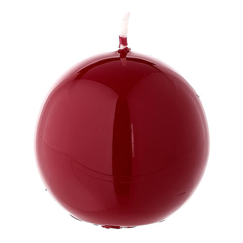 Round ball Christmas candle, red shiny 6 cm diameter 1