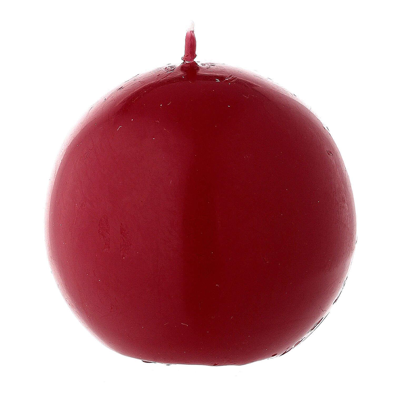 Vela de Navidad esférica lacre rojo oscuro 6 cm 3