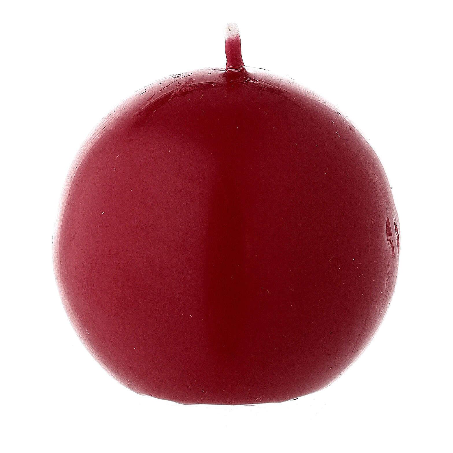 Candela di Natale sferica ceralacca rosso scuro 6 cm 3