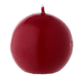 Candela di Natale sferica ceralacca rosso scuro 6 cm s1