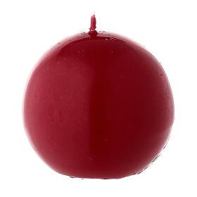 Candela di Natale sferica ceralacca rosso scuro 6 cm s2