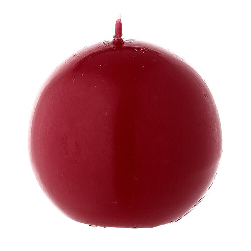 Candela di Natale sferica ceralacca rosso scuro 6 cm 2