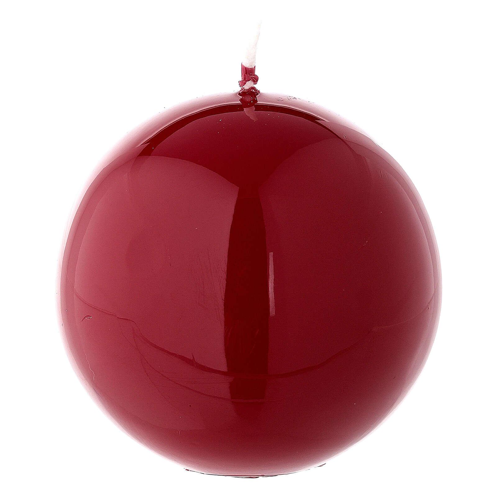 Candela di Natale sferica rosso lucido ceralacca 8 cm 3