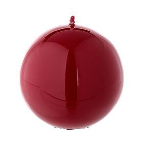 Candela di Natale sferica rosso lucido ceralacca 8 cm s1